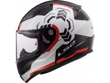 KASK LS2 FF353 RAPID GHOST WHITE BLACK RED 3XL